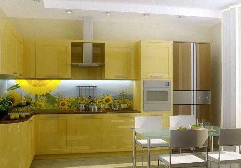 на фасаде мозаики с рисунком кухни