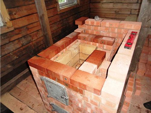 Плита-камин для дачи из кирпича своими руками