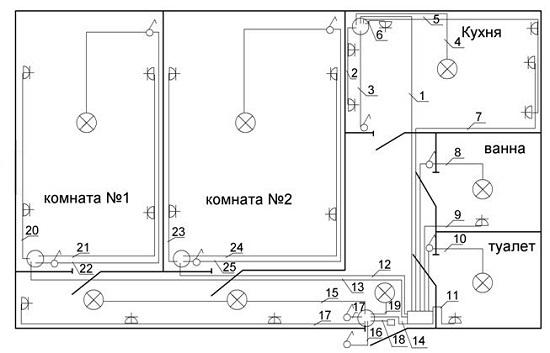 Схема расположения розеток в квартире фото 979