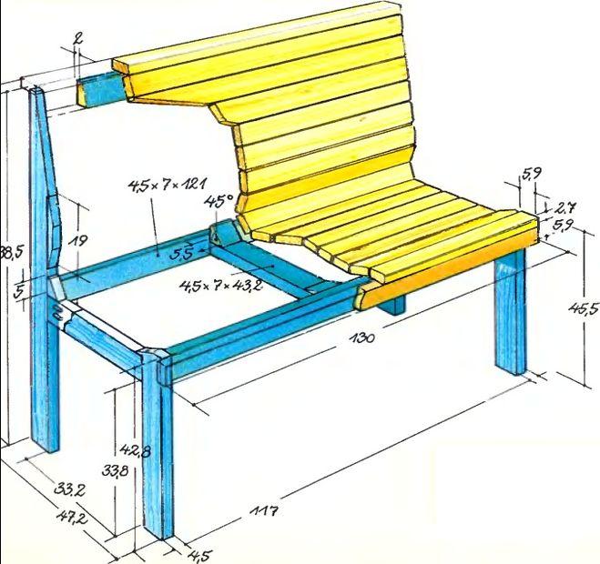 Как сделать скамейку из дерева своими руками из металла 54